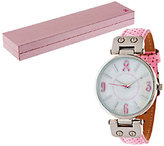 Gossip Pink Ribbon Perforated Strap Watch