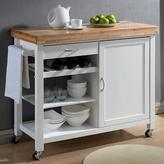 Baxton Studio Denver 41.5 in. W Wood Mobile Kitchen Cart with Butcher Block Top in White Natural