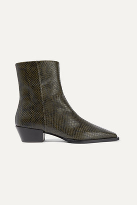 AEYDĒ Ruby Snake-effect Leather Ankle Boots - Snake print
