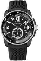 Cartier Calibre de Automatic Carbon Diver ADLC Stainless Steel & Rubber Strap Watch