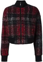 DKNY rose plaid bomber jacket