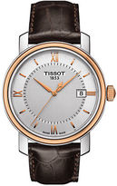 Tissot Mens Bridgeport Two-Tone Stainless Steel Leather Strap Watch