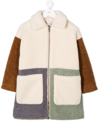 Stella Mccartney Kids Faux-Shearling Panelled Coat
