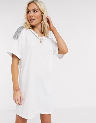 ASOS DESIGN t-shirt dress with embellished trim in white