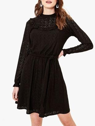Oasis Broderie Bib Dress, Black