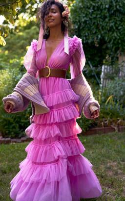 LoveShackFancy Women's Francoise Tiered Tulle Gown - Pink - Moda Operandi