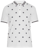 Gucci Bee And Star-embroidered Cotton Polo Shirt