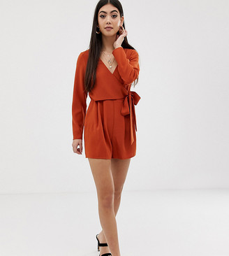 Asos DESIGN Petite wrap playsuit with tie side-Brown