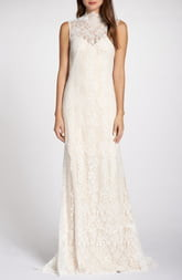 Tadashi Shoji Back Detail Lace Wedding Dress