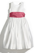 Us Angels Toddler Girl's Sleeveless Satin Dress With Contrast Sash