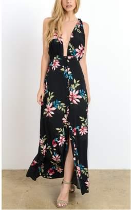 Hommage Black Tropical Floral Maxi