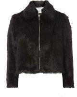Dorothy Perkins Womens Petite Black Plush Faux Fur Jacket- Black