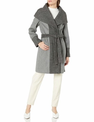 Calvin Klein Women's Wool Wrap Coat with Detachable Belt and Oversized Collar