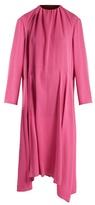 Balenciaga Ruched-shoulder silk-crepe midi dress