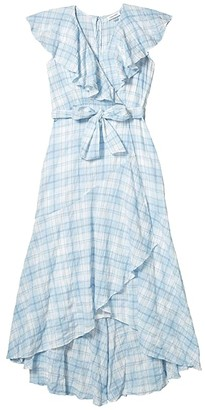 Calvin Klein Belted Plaid Dress with Ruffle Collar (Chambray/White Multi) Women's Dress