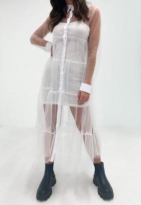 Missguided White Dobby Mesh Midaxi Shirt Dress