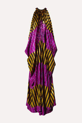 Halpern Draped Striped Sequined Tulle Gown - Purple