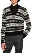 Alexander McQueen Fair Isle Cashmere V-Neck Sweater, Black/Gray/Cream Multi
