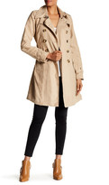 Steve Madden Double Breasted Belted Faux Suede Trench Coat