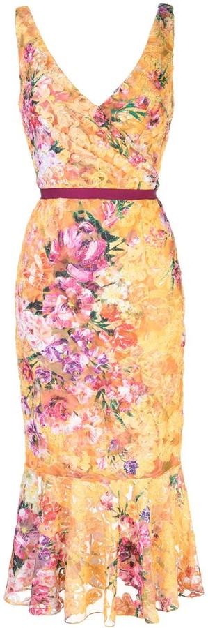 Marchesa Floral-Print Lace Dress