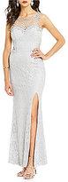 Jodi Kristopher Sleeveless Embellished Illusion Applique Long Lace Dress
