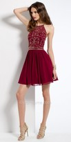 Camille La Vie Beaded Illusion Halter Homecoming Dress