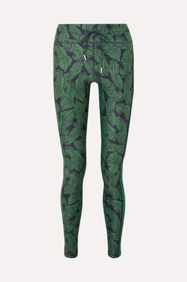 The Upside Striped Printed Stretch Leggings - Green
