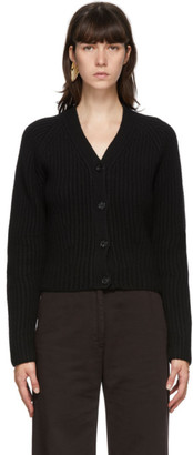 Acne Studios Black Ribbed Wool Cardigan