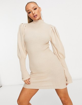 Parisian puff sleeve high neck ribbed jumper dress in beige