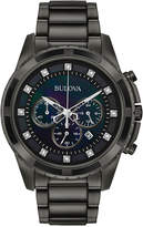 Bulova Men's Chronograph Diamond Accent Dark Gray Stainless Steel Bracelet Watch 44mm 98D133, Created for Macy's