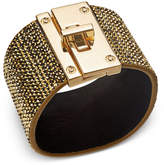 Thalia Sodi Gold-Tone Yellow Pavé Black Faux Suede Wrap Bracelet, Created for Macy's
