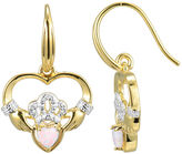 JCPenney FINE JEWELRY Heart-Shaped Lab-Created Opal and Diamond-Accent Claddagh Earrings