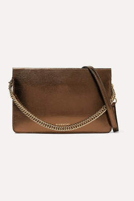 Givenchy Gv Cross Metallic Textured-leather And Suede Shoulder Bag - Bronze