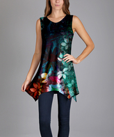 Lily Green Floral Sleeveless Tunic - Plus Too