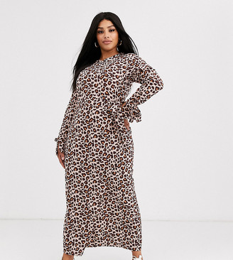 Verona Curve long sleeve maxi wrap dress in leopard print-Brown