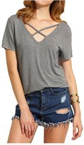 CutyKids Women Criss Cross Front Short Sleeve Open Cut Back Shirt Tops M