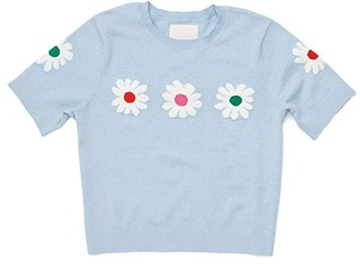 ban.do Daisy Cropped Short Sleeve Sweater (Blue) Women's Clothing