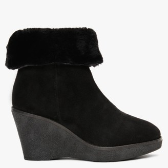 Alba Moda Black Suede Wedge Ankle Boots