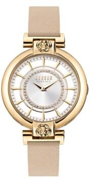 Versus By Versace Versus Women's Silver Lake Beige Leather Strap Watch 36mm