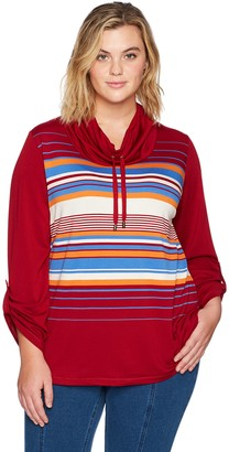 Ruby Rd. Women's Plus-Size Silky French Terry Engineered Stripe Pullover