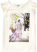 Crazy 8 Jet Ivory Girl Bike Flutter-Sleeve Top - Girls