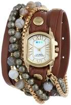 La Mer Women's LMMULTI2011 Positano Cognac Leather Wrap Band Watch