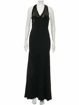 Naeem Khan Sequin Accented Gown Black