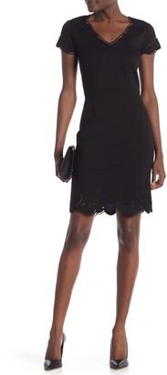 T Tahari Embroidered Cap Sleeve Dress