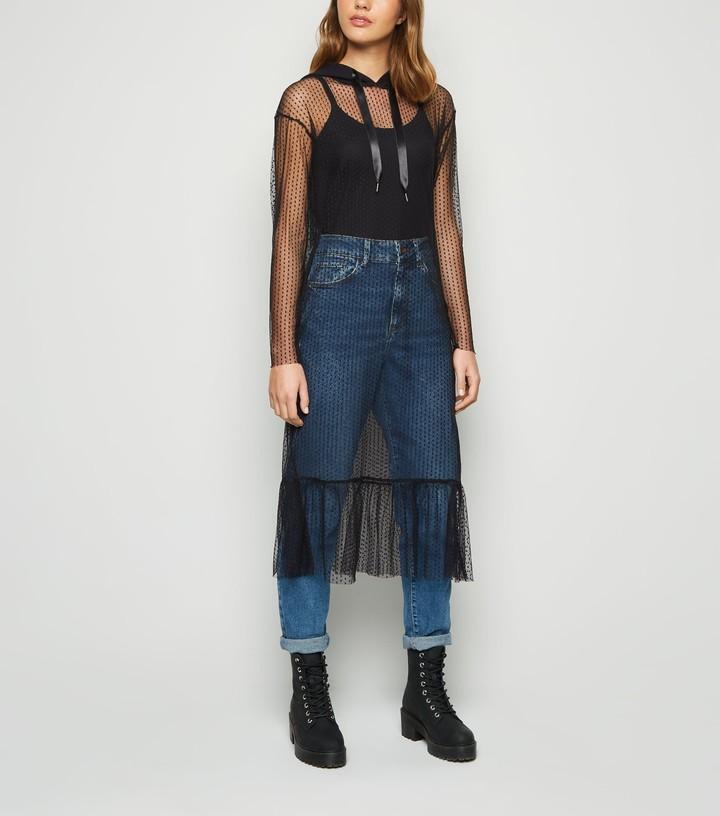 New Look Noisy May Spot Mesh Hooded Midi Dress