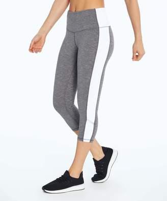 Marika Sport Women's Active Pants HEATHER - Heather Gray Color Block High-Rise Reflective Capri Leggings - Women