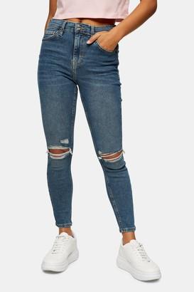 Topshop Womens Petite Blue Green Jamie Skinny Jeans - Blue