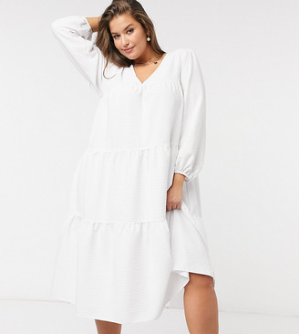 ASOS DESIGN Curve seersucker tiered midi smock dress in white