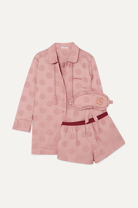 LOVE Stories Joe, Frenchie And Sunday Polka-dot Satin-jacquard Pajama Set - Pink