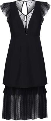 True Decadence Black Dotty Mesh Low Cut Midi Dress